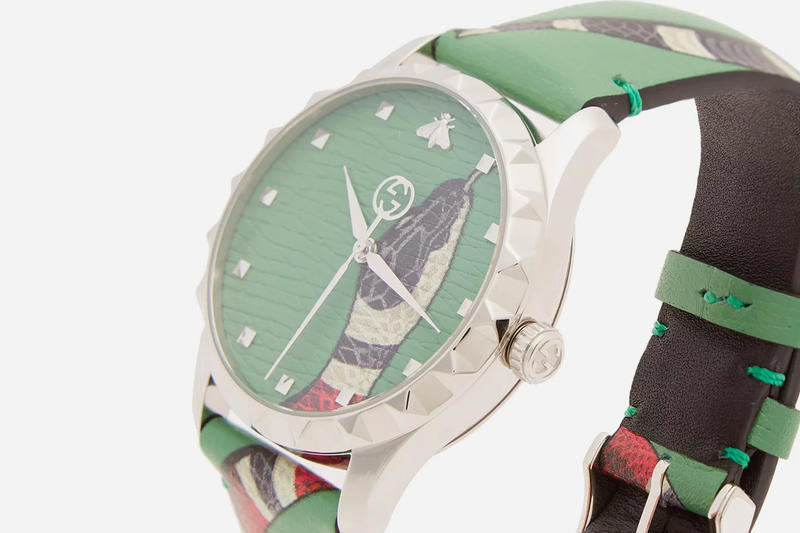 Gucci Kingsnake Leather Watch Green release info Le Marché Des Merveilles accessories jewelry