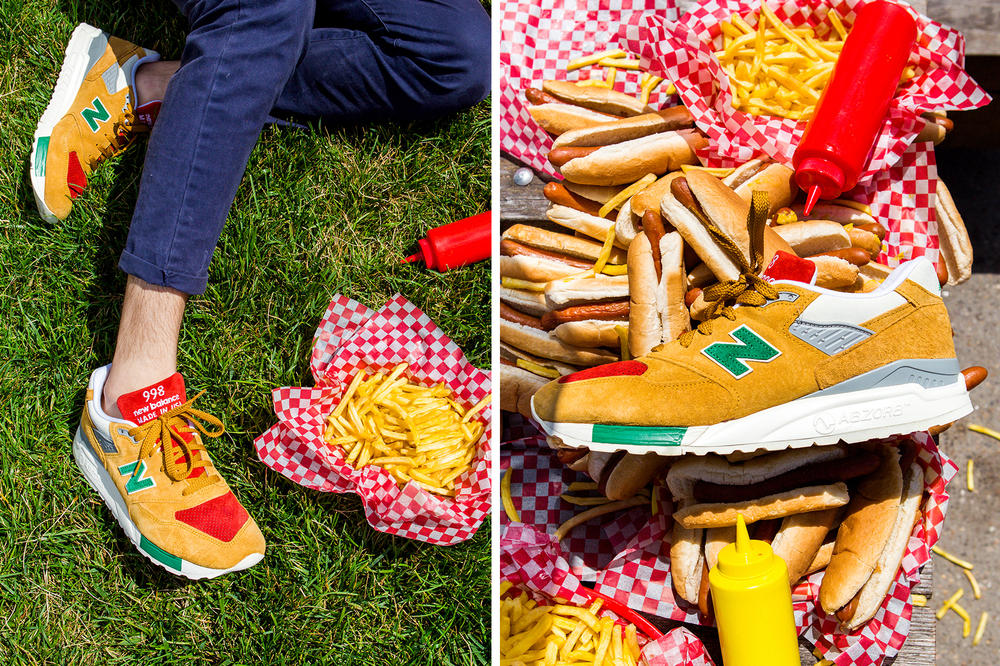 J. Crew New Balance 998 Ketchup Mustard Colorway red green pickle relish yellow hot dog 4th of july condiments July 12 special packaging