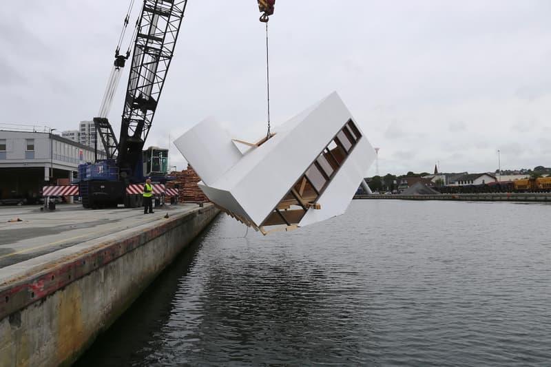 Le Corbusier's Villa Savoye Replica Sunk Floating Art Festival 2018 Danish fjord Flooding Modernity artist Asmund Havsteen-Mikkelsen Veijle Art Museum