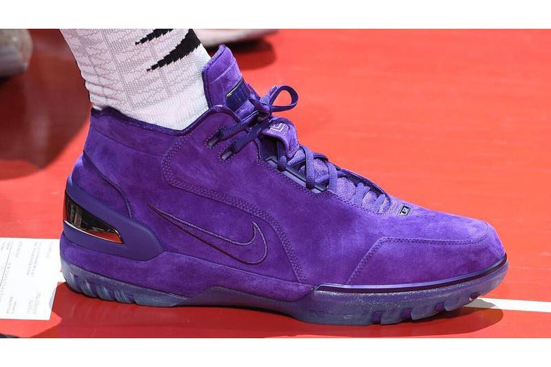 LeBron James Nike Air Zoom Generation Purple Suede PE Los Angeles Lakers shorts sneakers footwear JustDon Mitchell & Ness