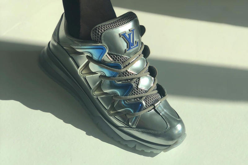 Imed Soussi louis vuitton chunky osiris skate sneaker silver metallic blue sega teaser first look