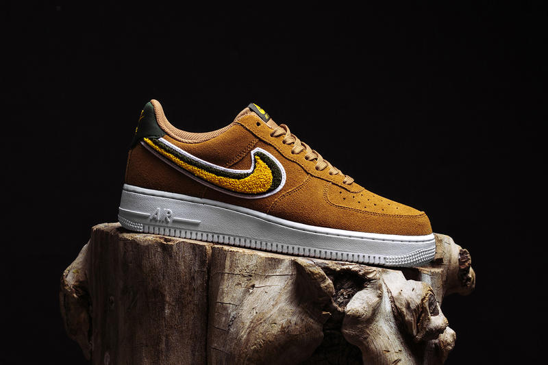 Nike's Air Force 1 07 LV8 Muted Bronze Chenille Swoosh