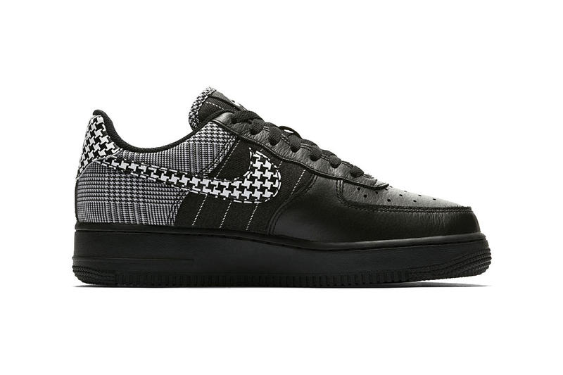 nike air force 1 low black patchwork pattern colorway houndstooth white side profile