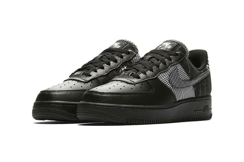 nike air force 1 low black patchwork pattern colorway houndstooth white pair side angle