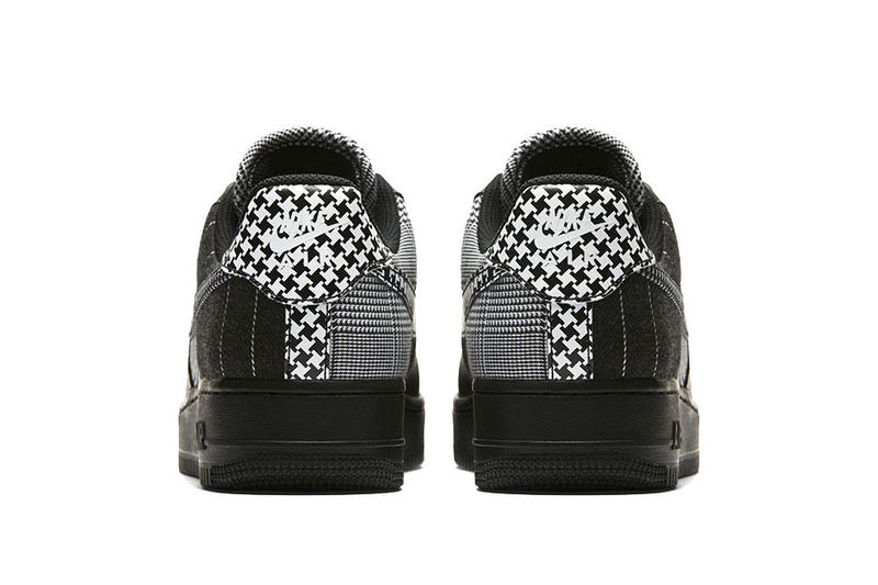 nike air force 1 low black patchwork pattern colorway houndstooth white black heel