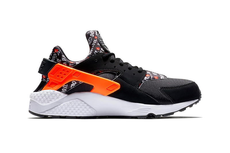 Nike Air Huarache Just Do It pack Black Total Orange White neoprene catchphrase release info price purchase August 2018