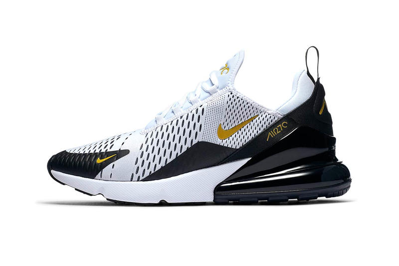 big sale 9d916 2b990 Nike Air Max 270 white metallic gold black colorway available now release  date sneaker footwear purchase