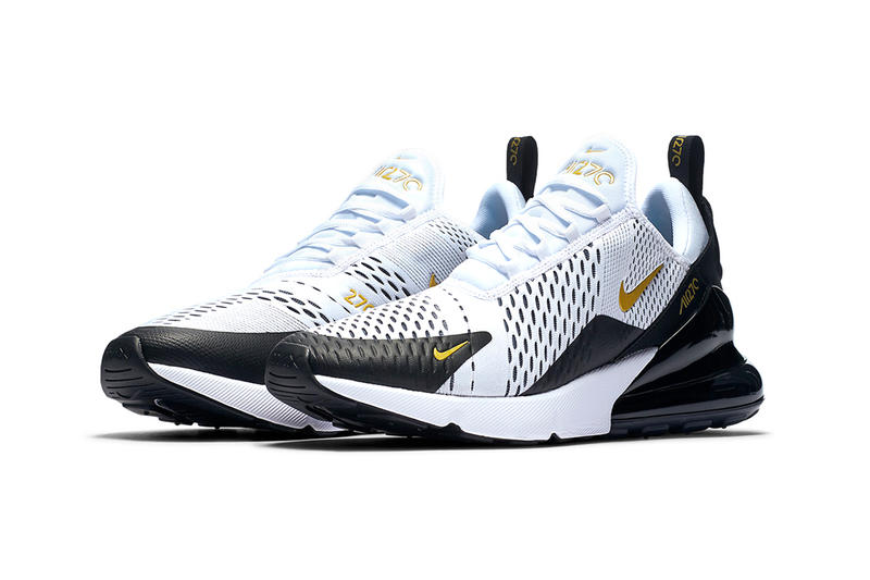 Nike Air Max 270 white metallic gold black colorway available now release date sneaker footwear purchase price release info