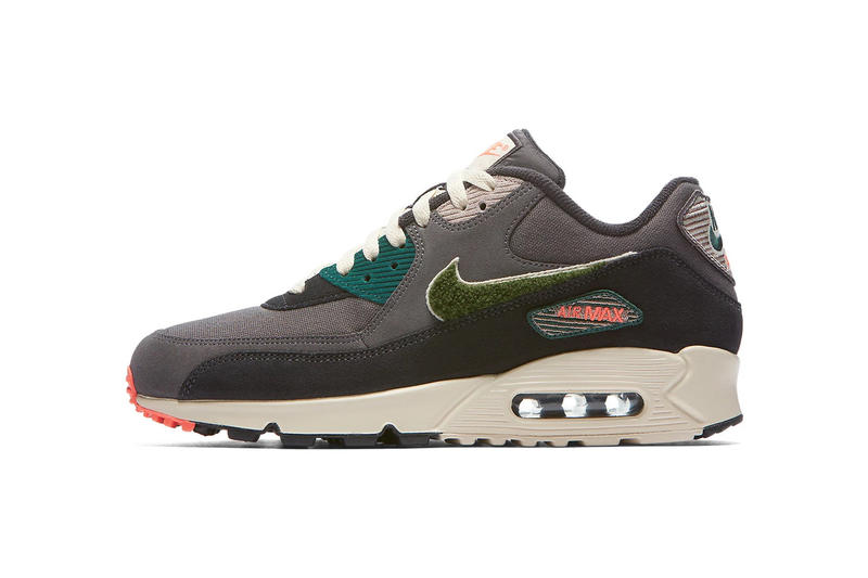 competitive price 8d310 eab74 Nike Air 90 Grey Green Chenille Swoosh Release Info nike sportswear pink  teal sail