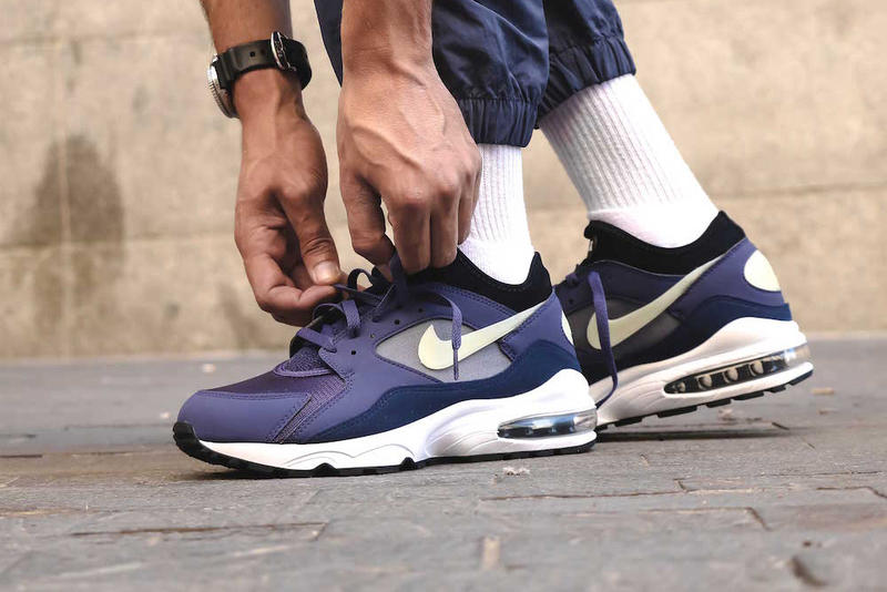 Nike Air Max 93 Purple Patch On Foot Look Blue Sail White Release Info