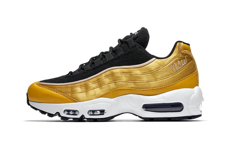 new products f9ded 00d8a Nike Air Max 95 LX Satin Gold NSW logo Nike Sportswear Sergio Lozano summer  release