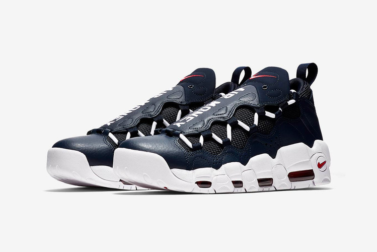 pretty nice 4480c 6987d Nikes Air More Money Receives Classic Navy and Red Colorways. Footwear