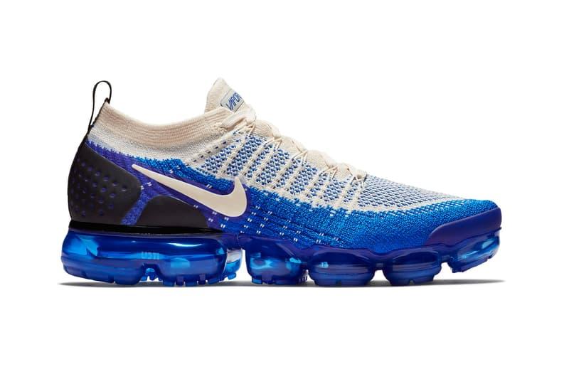 e50c0d47bf8e2 Nike Air VaporMax 2 Light Cream Racer Blue running flyknit summer 2018  sneakers