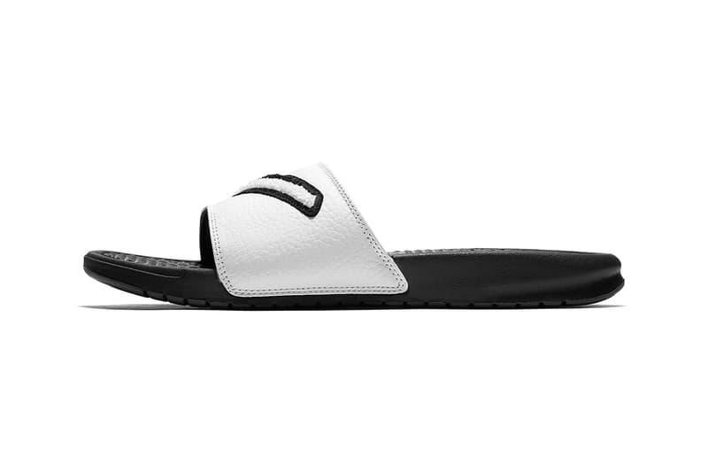 5f26e9ec40645b Nike Benassi Slides Chenille Swoosh black white gold tan sandals release  info