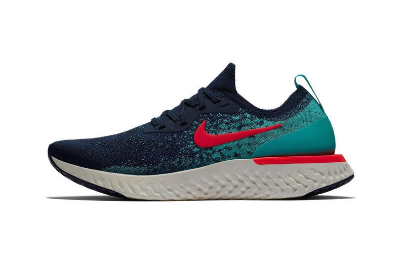 nike epic react flyknit college navy jade release footwear sneakers running shoes