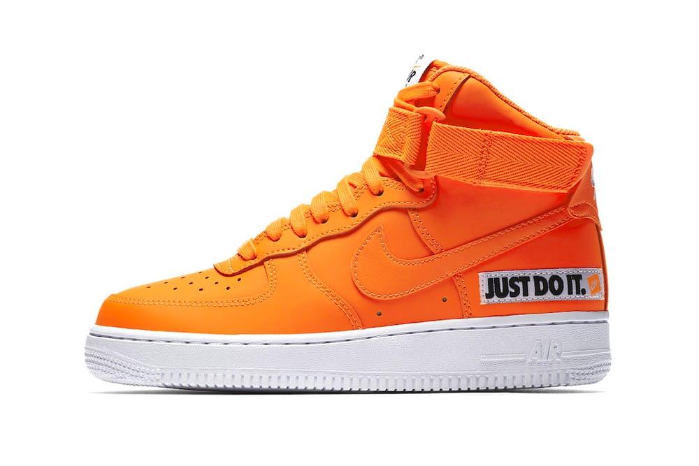 orange nike air force 1 high top
