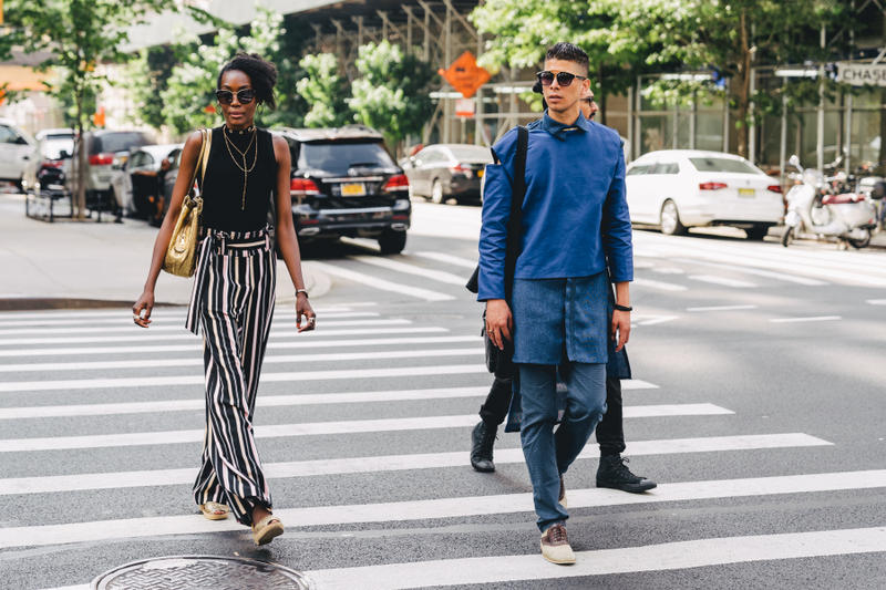 new york fashion week spring summer 2019 city street style snap photograph balenciaga nike off white ufc blue white air jordan 1 prada shirt leather vest floral tropical pattern football soccer jersey comme des garcons pink sneaker bapesta desert rat black