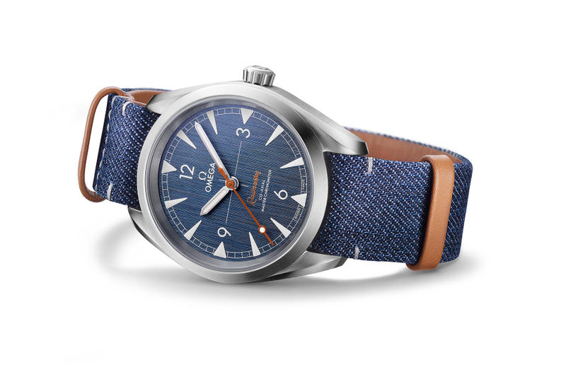 Omega seamaster railmaster denim faded jeans nato brown leather strap 220.12.40.20.03.001 OMEGA CO-AXIAL MASTER CHRONOMETER 40 MM 4900 usd steel