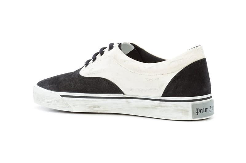 Palm Angels Flame Sneakers Low Top Farfetch fall winter 2018 462 usd buy release date info trend fire black white branding logo distressed