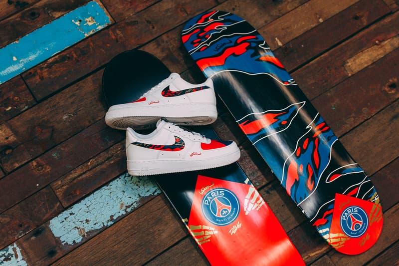 dbb7791e3caa7 Sabotage x Paris Saint Germain F.C. SBTG Collab Collaboration Release  Details Nike Air Force 1 Skate