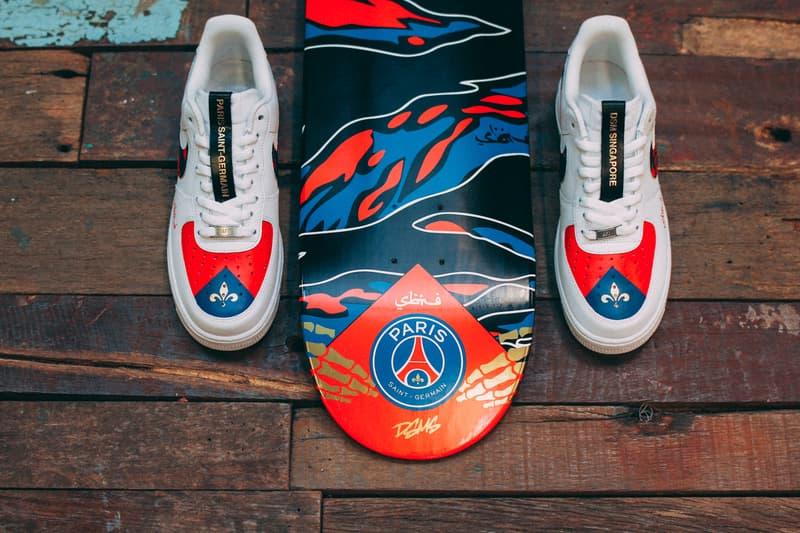 Sabotage x Paris Saint Germain F.C. SBTG Collab Collaboration Release Details Nike Air Force 1 Skate Deck Limited Cop Purchase Buy Dover Street Market Singapore