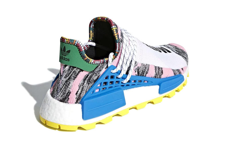 Pharrell williams adidas originals NMD Hu MOTH3R Official Look blue yellow green pink white black