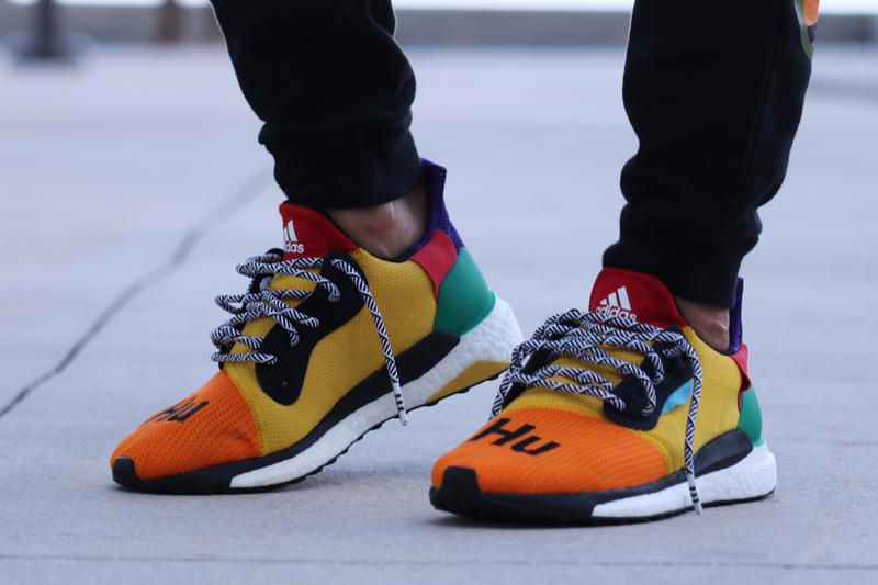 f1fa9f755 Pharrell adidas Solar Hu Glide ST Early Look rainbow colorway boost midsole  yellow orange blue pink