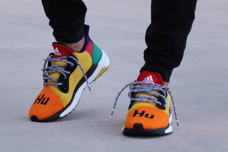 ea8edfa36 Pharrell adidas Solar Hu Glide ST Early Look rainbow colorway boost midsole  yellow orange blue pink