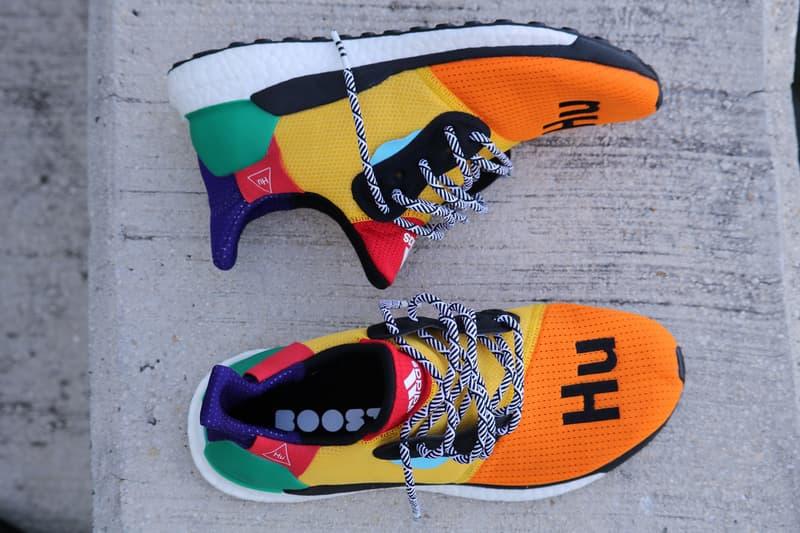 a7740f94e9fc3 Pharrell adidas Solar Hu Glide ST Early Look rainbow colorway boost midsole  yellow orange blue pink