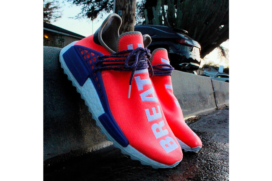 4fd2eaa23e0 Pharrell williams adidas originals NMD Hu Breathe Walk Alternate Colorway  White Pink Purple ...
