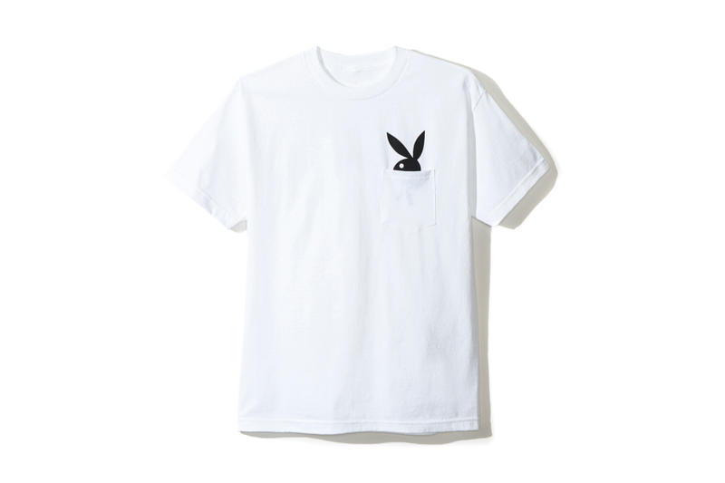 playboy white label anti social social club collaboration collection july 13 2018 white tee shirt pocket bunny rabbit head logo