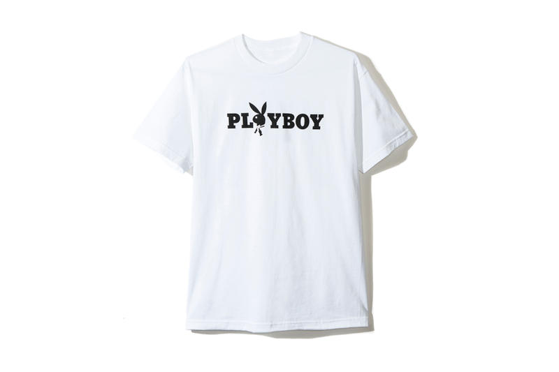 playboy white label anti social social club collaboration collection july 13 2018 rabbit head bunny branding logo white tee shirt