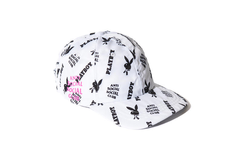 playboy white label anti social social club collaboration collection july 13 2018 white cap hat rabbit head bunny print bow tie branding