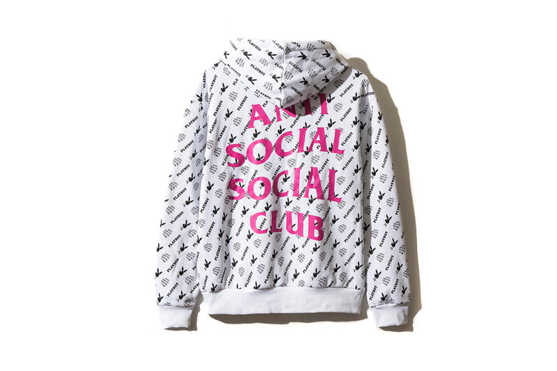 playboy white label anti social social club collaboration collection july 13 2018 white hoodie rabbit head bunny print bow tie branding logo pink