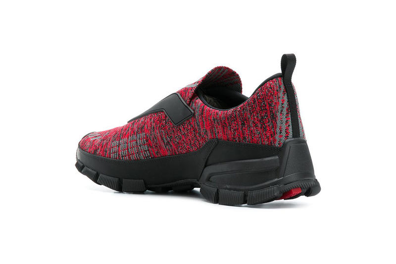 PRADA Cross Action Slip-On Sneakers Red Knit FARFETCH