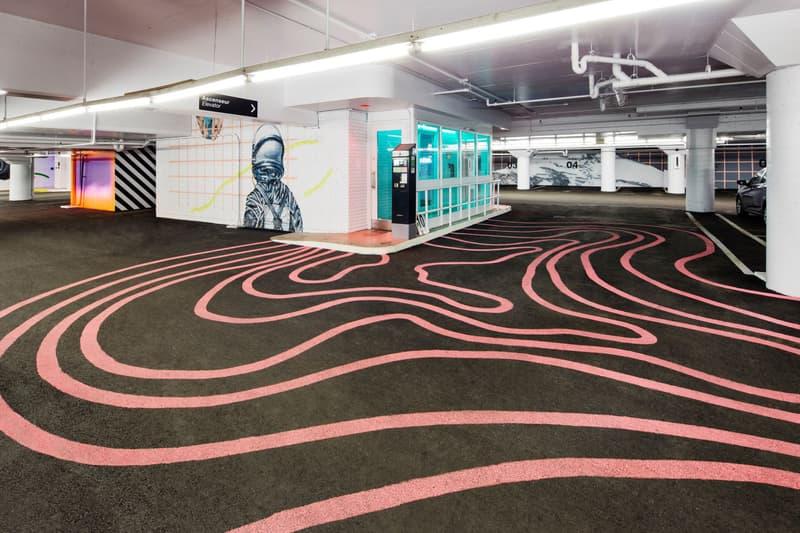 cyrcle lune rouge lndmrk underground parking garage installation murals artworks street art paintings