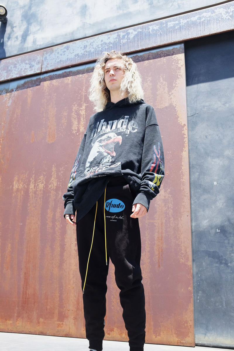 maxfield la rhude exclusive drop pop up shop exhibit los angeles july 13 2018 tee shirt hoodie track pants shirt printed aloha hawaiian shirt exclusive lookbook sneaker
