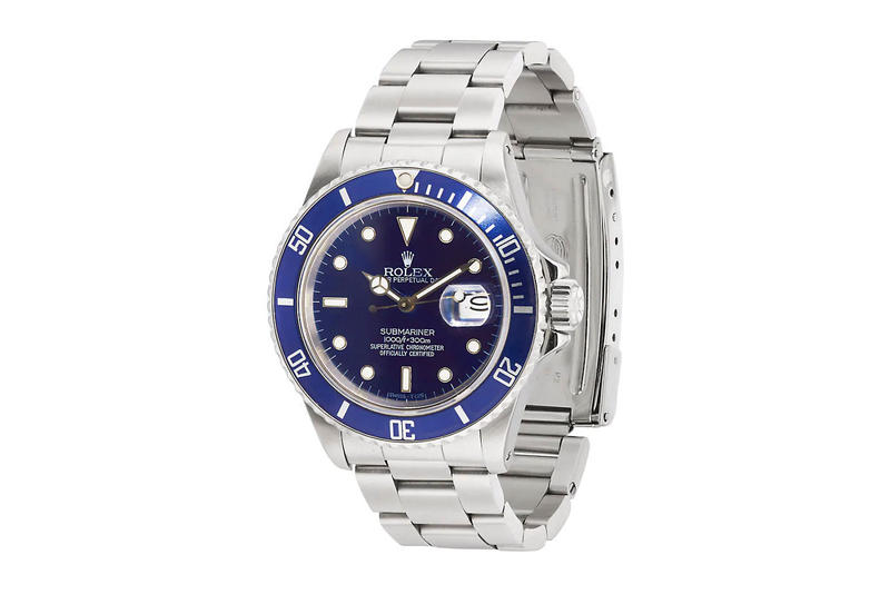 Rolex Submariner 1990 Perpetual Date Barneys sale sold 10900 usd price vintage rare blue case stainless steel case