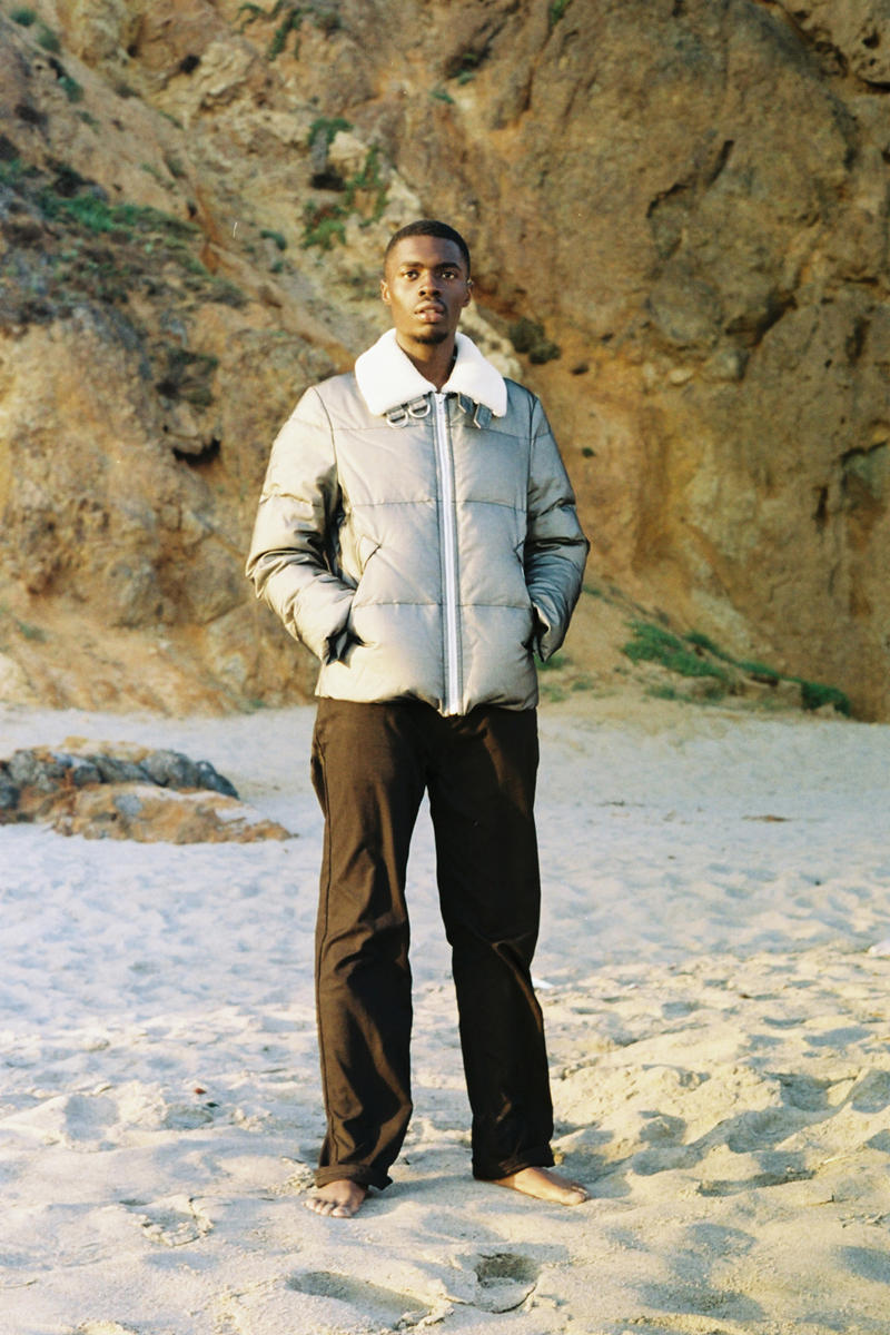 sheck wes helmut lang fall 2018 cian moore collection look style winter jeans tee shirt logo tank top fur collar jacket