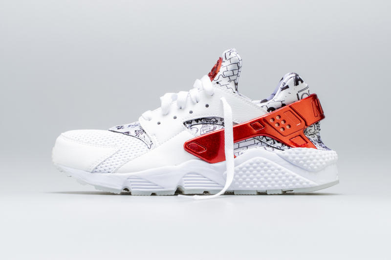 sale retailer 7e7e3 7ec4a Shoe Palace Nike Air Huarache Release Date info price purchase 25th  Anniversary White University Red Platinum