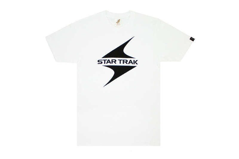 star trak billionaire boys club collaboration collection white short sleeve tee shirt black logo