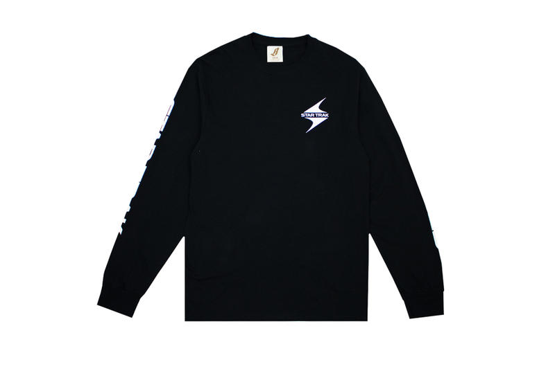 star trak billionaire boys club collaboration collection white long sleeve tee shirt black logo