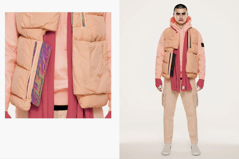 Stone Island Shadow Project 10 Year Anniversary Collection Jackets Vest iridescent Pink Scarf Chelsea Boot Shoes