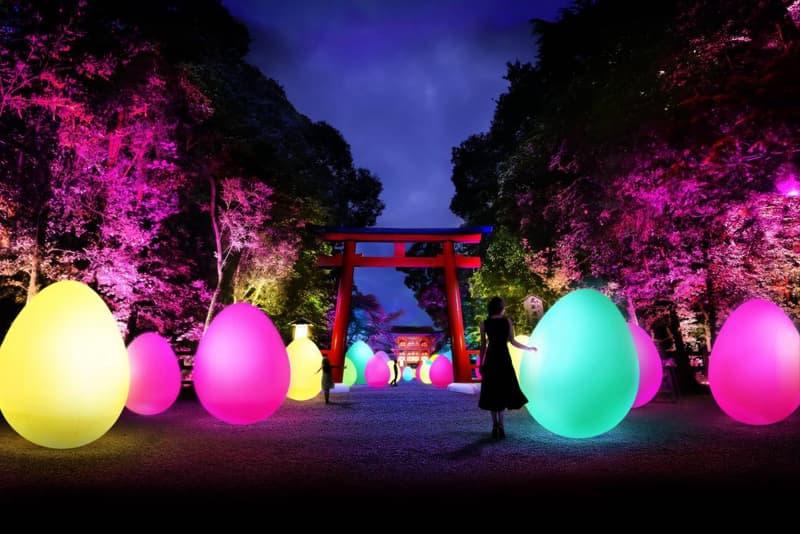 teamlab light festival tadasu no mori shimogamo shrine kyoto japan installations artworks