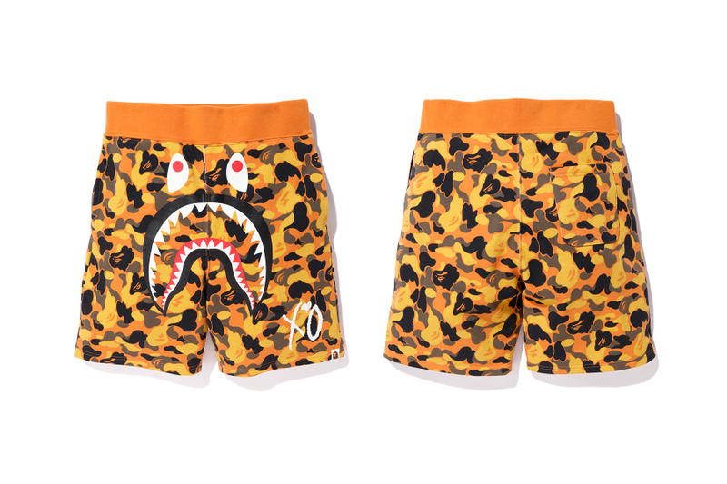 the weeknd a bathing ape bape x xo camo shorts