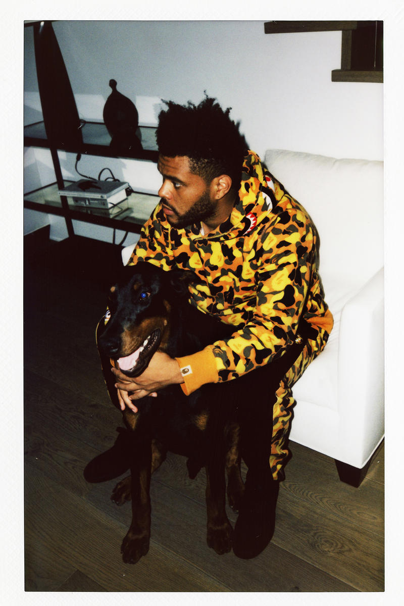 the weeknd bape collaboration collection lookbook august 4 2018 xo logo back shark hoodie camouflage