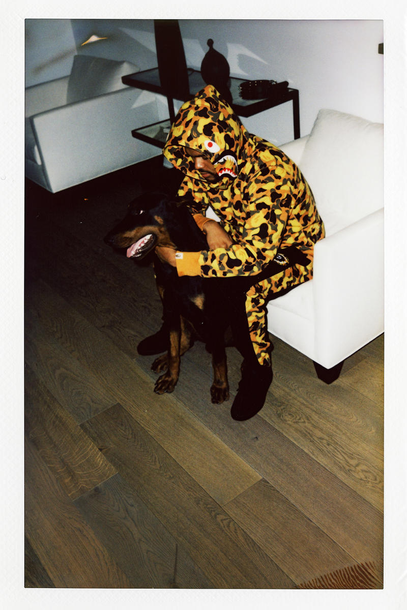 the weeknd bape collaboration collection lookbook august 4 2018 xo logo back shark hoodie camouflage zip up