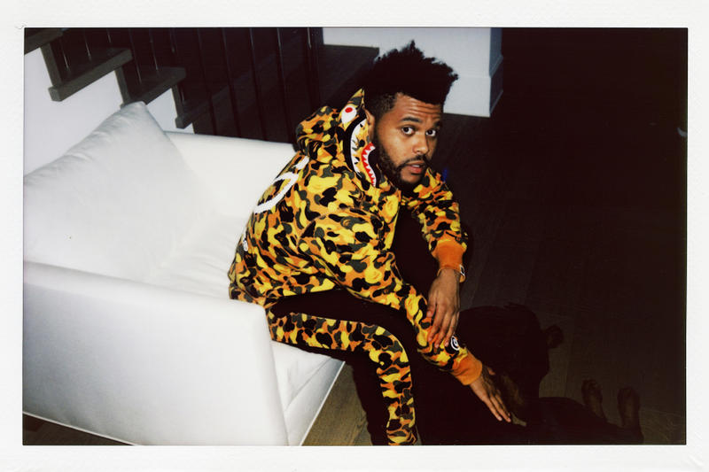 the weeknd bape collaboration collection lookbook august 4 2018 xo logo back shark hoodie camouflage black pants pattern