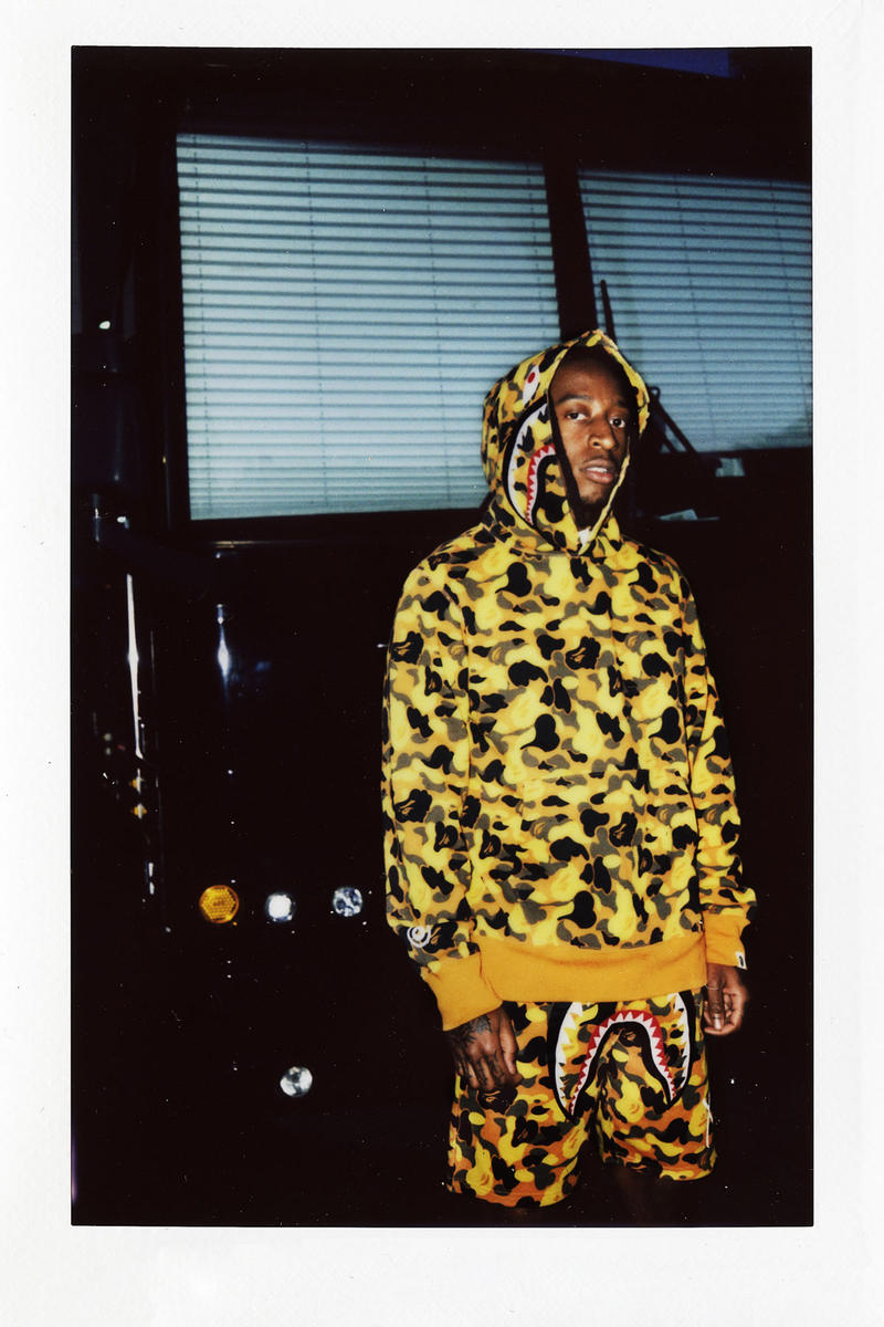 the weeknd bape collaboration lookbook release date drop august 4 2018 available cop buy purchase sale sell web store camouflage hoodie pants tee shirt work jacket hoodies collection official edition xo rug
