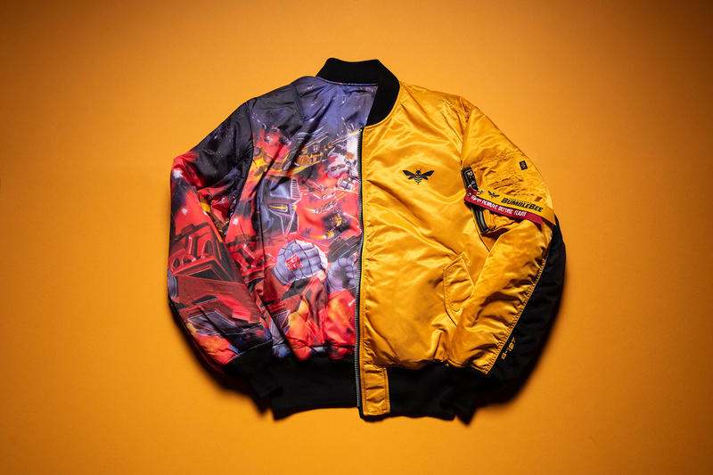Hasbro Alpha Industries MA-1 Flight Jacket Bumblebee Transformers reversible yellow movie michael bay limited edition win raffle sign up early access buy purchase sale film tie in merch